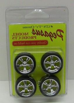 PEGASUS 1/24-1/25 T's Chrome Rims w/Tires  PGS1274-NEW