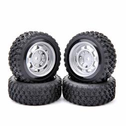 4PCS 1/10 Off-Road Wheel Rim & Rubber Tyre Tires Front & Rea