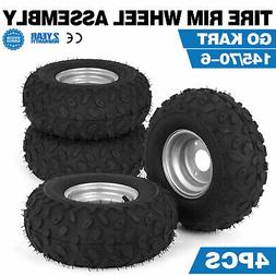 4X Go-kart ATV Tire with Wheel Assembly 145/70-6 Rim Go kart