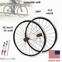 700C Road Bike Bicycle Wheel Front Rear Wheelset Hub7075 Alu