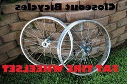 "BICYCLE RIMS 26""x 4X36H Polished SIngle Speed WHEEL SET BEAC"