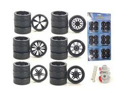 WHEELS & TIRES SET BLACK REPLACEMENT RIMS FOR 1/18 SCALE CAR