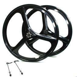 "Fit Rear&Front 26"" MTB Bike Magnesium Wheels 3-Spoke Set Rim"