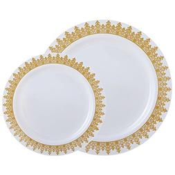60PCS Heavyweight White with Gold Rim Wedding Party Plastic