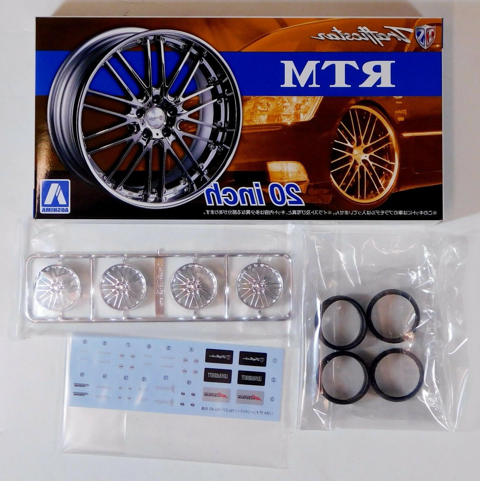 "Aoshima 1/24 Trafficstar RTM 20"" Wheel Rims & Tire For Plast"