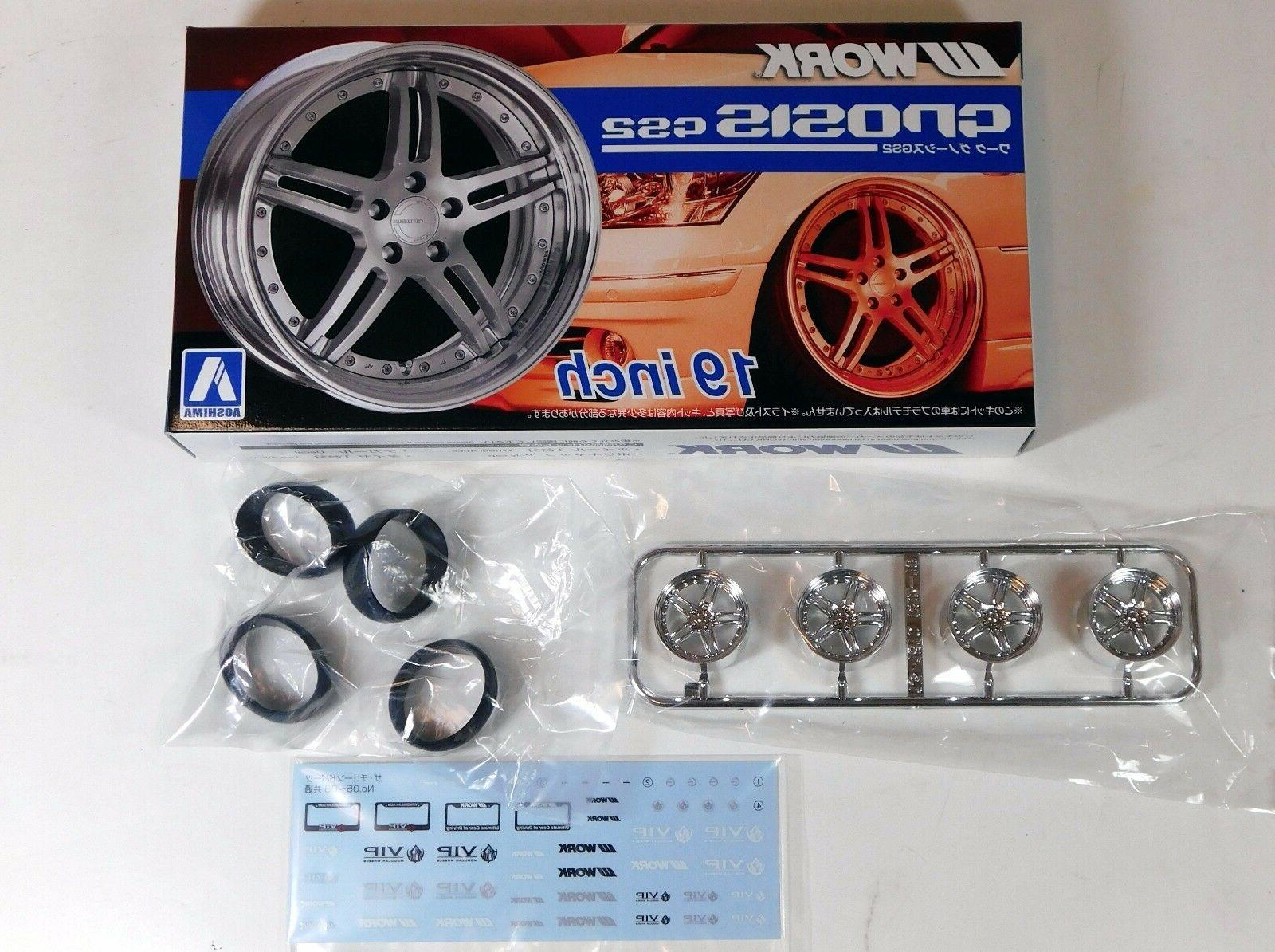 "Aoshima 1/24 Work GNOSIS GS2 19"" Wheel Rims & Tire Set Plast"