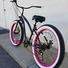 Fat Tire Beach Cruiser Bike- 26X3 PINK WHEELS 57mm Rims- 7 s