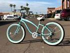 Fat Tire Beach Cruiser Bike- 26X3 TEAL 57mm Rims- 7 spd- Rea