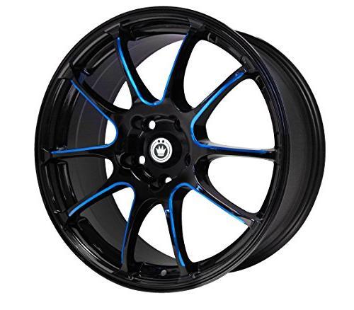 illusion black ball cut blue wheel 17x7