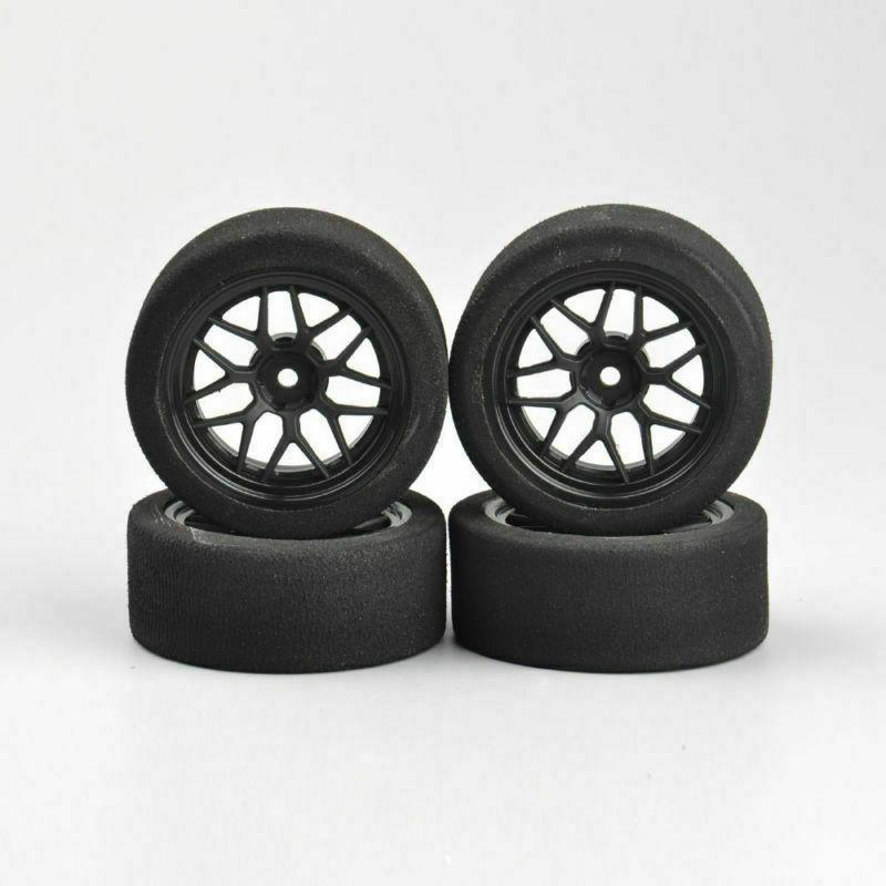 US 4Pcs Foam Tires&Wheels Rims HSP 1/10 Racing Car 23002