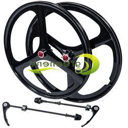 "NEW Fit 26"" MTB Bike Magnesium Wheels 3-Spoke Set Rim Wheels"