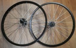 "PAIR OF BLACK 20"" FRONT/REAR BIKE BICYCLE RIMS/HUBS RMRT357"