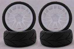Hobbypower RC 1/10 Soft Rubber Tires Tyres Wheel Rim For On