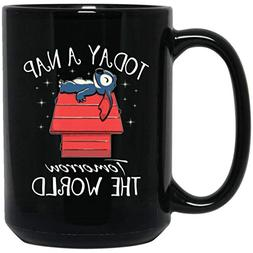 Today a Nap Tomorrow the World Black Coffee Mug Tea Mug for