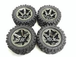 Traxxas Rustler 4x4 Front Rear Wheels Rims Tires Black Talon