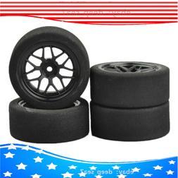 US 4Pcs 1/10 Foam Tires & Wheels Rims 12mm Hex For HSP HPI o