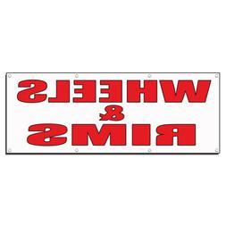 WHEELS & RIMS Auto Body Shop Car Repair Banner Sign 4 ft x 2